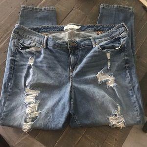 Torrid 24 Skinny Extra Distressed Jeans